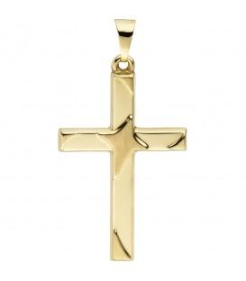 Anhänger Kreuz 375 Gold Gelbgold teil matt Kreuzanhänger Goldkreuz Produktbild