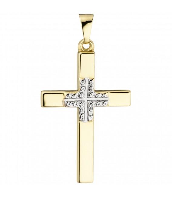 Anhänger Kreuz 375 Gold Gelbgold Kreuzanhänger Goldkreuz ...