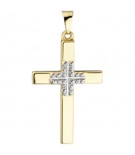 Anhänger Kreuz 375 Gold Gelbgold Kreuzanhänger Goldkreuz