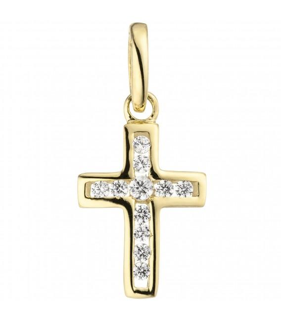 Anhänger Kreuz 375 Gold Gelbgold 11 Zirkonia Kreuzanhänger Goldkreuz Zoom