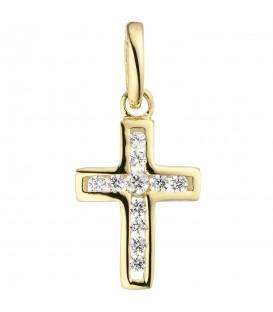 Anhänger Kreuz 375 Gold Gelbgold 11 Zirkonia Kreuzanhänger Goldkreuz Produktbild