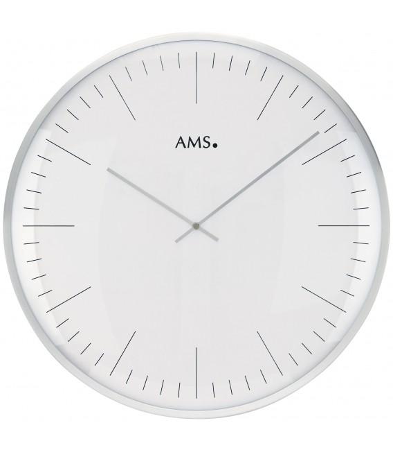 AMS 9540 Wanduhr Quarz analog weiß silbern rund - Bild 1