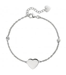 Armband Herz 925 Sterling Silber 2 Zirkonia 22 cm Silberarmband Herzarmband - Bild 1
