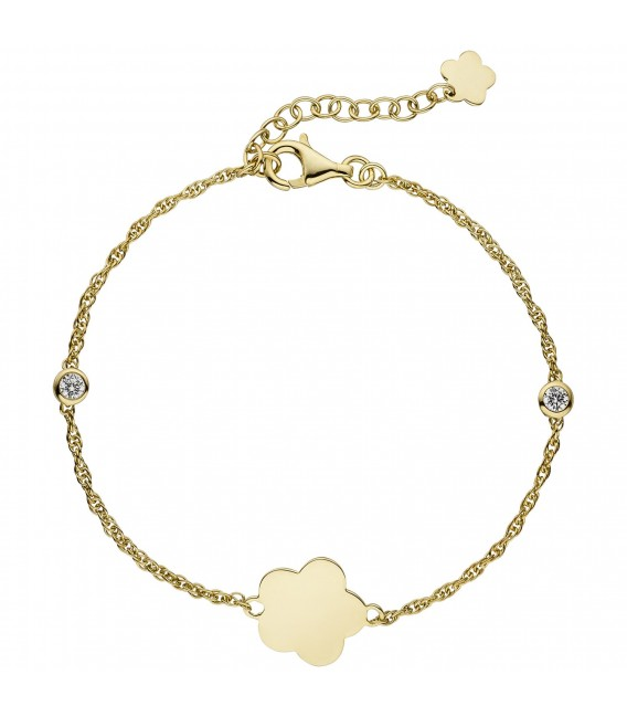 Armband Blume 925 Sterling Silber gold vergoldet 2 Zirkonia 22 cm - Bild 1