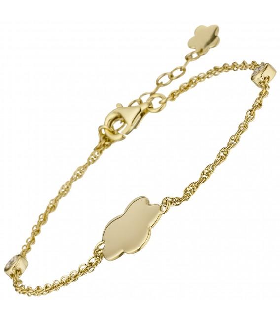 Armband Blume 925 Sterling Silber gold vergoldet 2 Zirkonia 22 cm - Bild 2