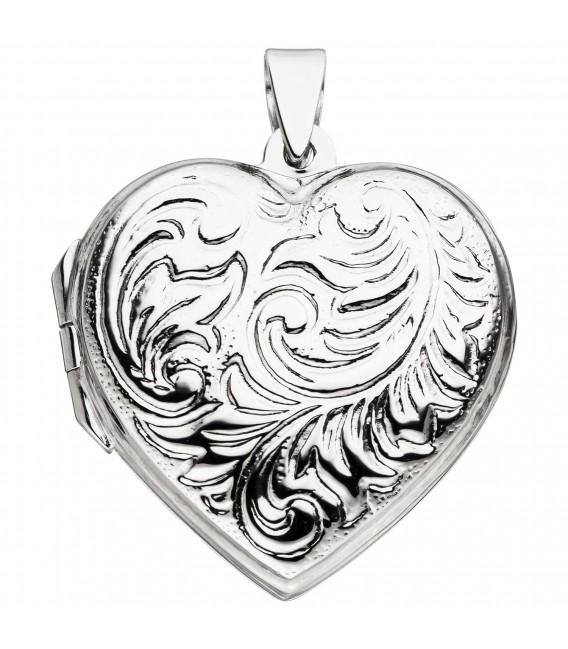 Medaillon Herz zum Öffnen für 2 Fotos 925 Sterling Silber Herzanhänger - Bild 1 ...