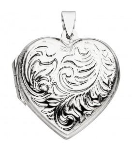 Medaillon Herz zum Öffnen für 2 Fotos 925 Sterling Silber Herzanhänger - Bild 1