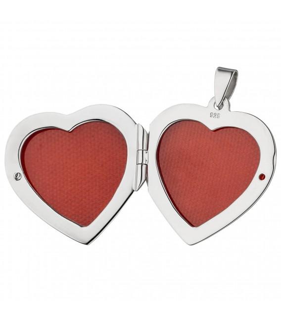 Medaillon Herz zum Öffnen für 2 Fotos 925 Sterling Silber Herzanhänger - Bild 3 ...