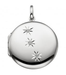 Medaillon rund zum Öffnen für 2 Fotos 925 Sterling Silber 3 Zirkonia - Bild 1