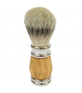 Golddachs Rasierpinsel mit Dachs-Silberspitzen Olivenholzgriff - Bild 1