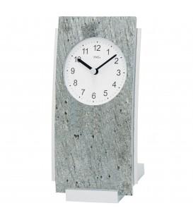 AMS 1154 Tischuhr Quarz silbern analog Stein-Auflage mit Aluminium - Bild 1
