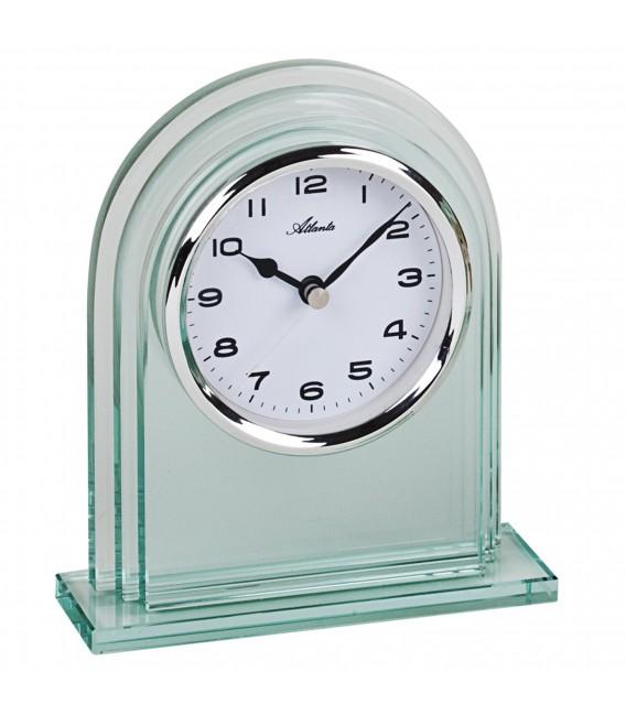 Atlanta 3034/0 Stiluhr Tischuhr Quarz silbern Glas mit Weckfunktion - Bild 1