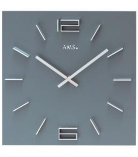 AMS 9594 Wanduhr Quarz analog grau viereckig - Bild 1