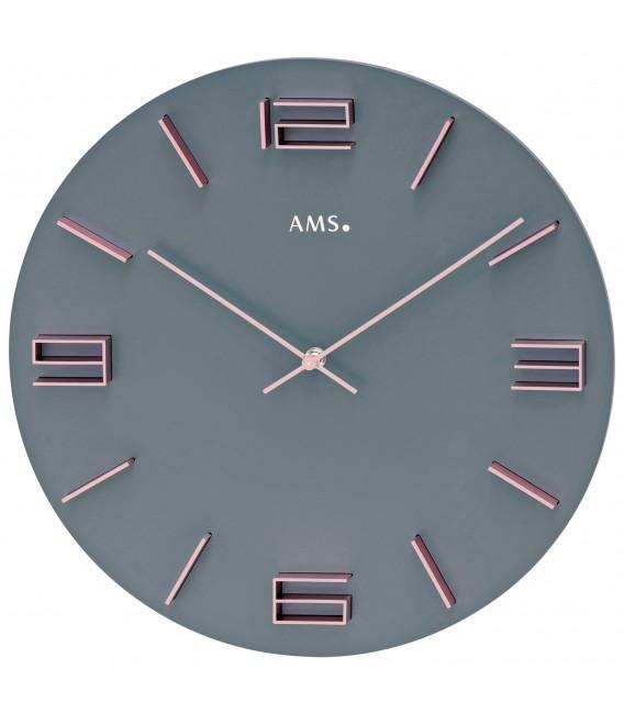 AMS 9590 Wanduhr Quarz analog grau mit rosa - Bild 1 ...