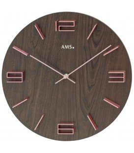 AMS 9591 Wanduhr Quarz analog nussbaum farben mit rosa - Bild 1