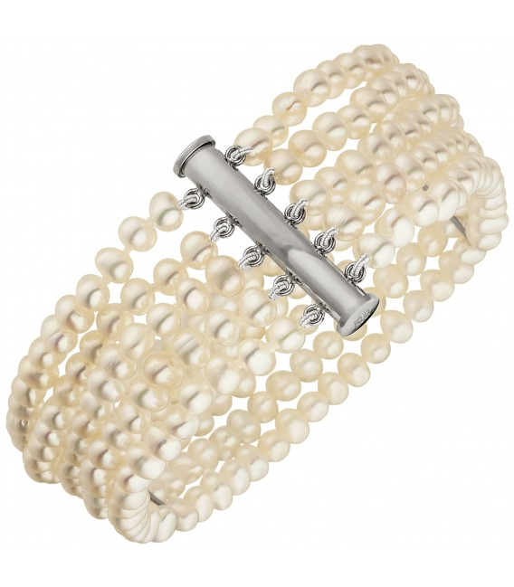 Armband 5-reihig Süßwasser Perlen und 925 Sterling Silber 19 cm Perlenarmband - Bild 1