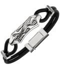 Armband Leder mit Edelstahl - 51025