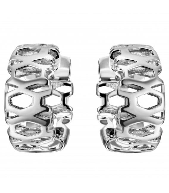 Creolen breit 925 Sterling Silber Ohrringe Silbercreolen Silberohrringe - Bild 1