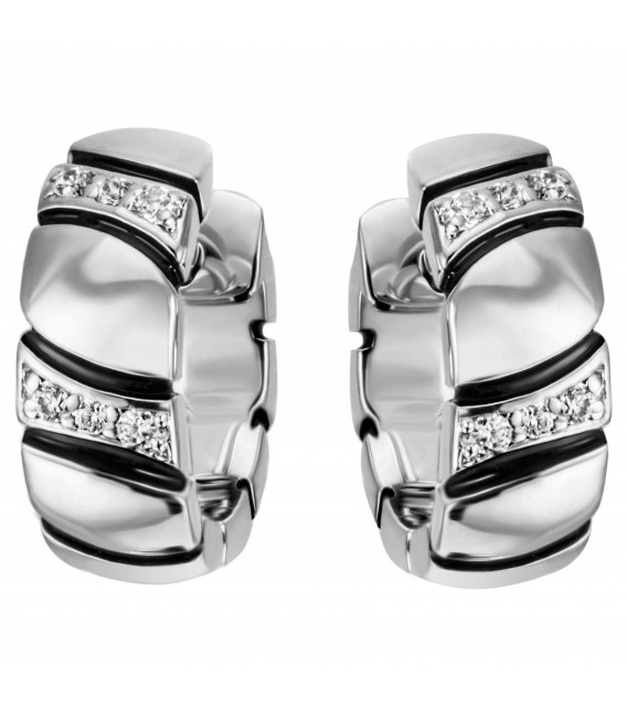 Creolen 925 Sterling Silber 12 Zirkonia Ohrringe Silbercreolen Silberohrringe - Bild 1