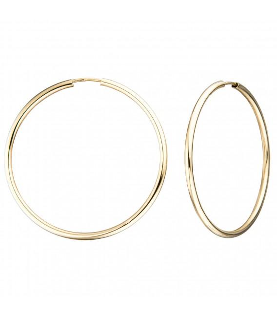 Creolen 585 Gold Gelbgold Ohrringe Goldohrringe - Bild 1