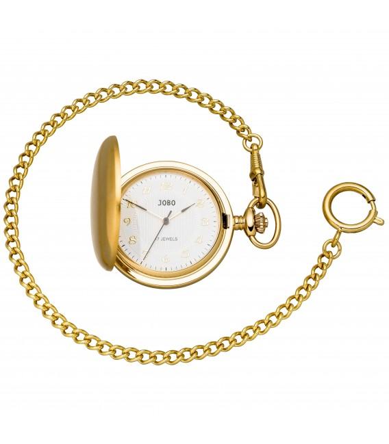 JOBO Taschenuhr mit Kette Handaufzug vergoldet mit Sprung-Deckel - Bild 1