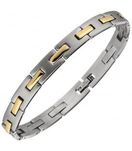 Armband Edelstahl bicolor teil matt 21 cm - Bild 1