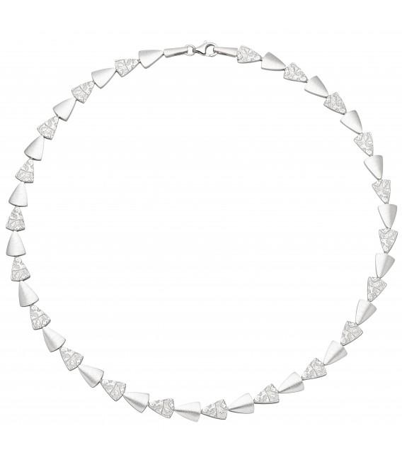 Collier Halskette 925 Sterling Silber gehämmert 45 cm Kette Silberkette - Bild 1