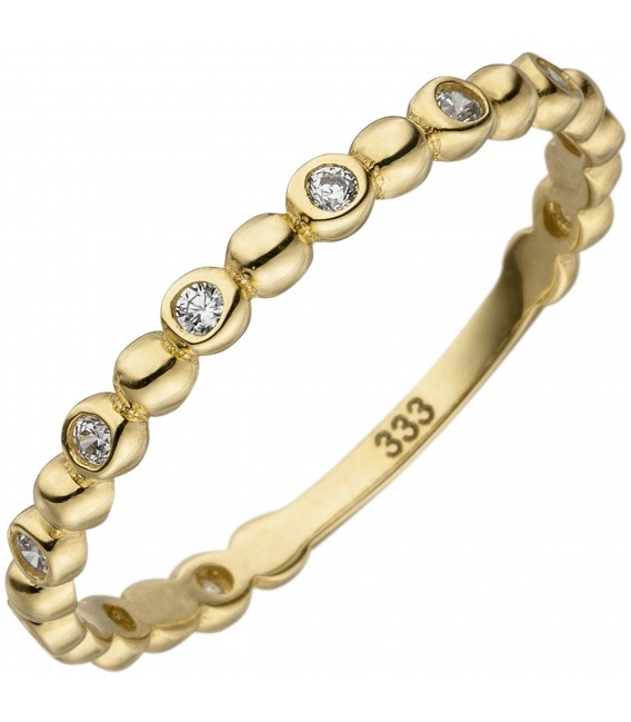 Damen Ring Kugel 333 Gold Gelbgold 11 Zirkonia Goldring Kugelring - Bild 1